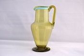 Sowerby Venetian glass, tall green jug with blue rim and trails