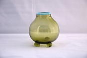 Sowerby Venetian glass, bulbous vase with blue rim and three ball feet