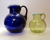 Sowerby glass, large Bristol Blue jug with white rim